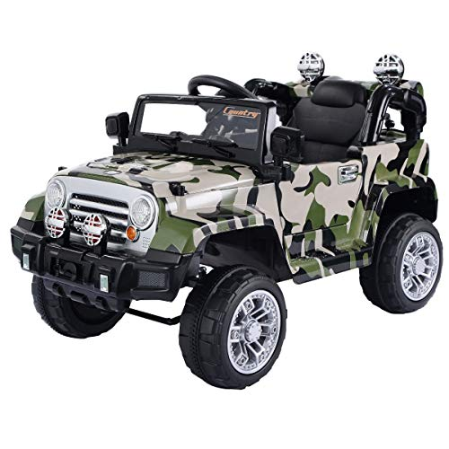 Camouflage 12V Kids Ride on Truck Home Toys & Games Toy Electric Riding Vehicles Hobbies Electronic Wind-Up Battery Accessories Ride Truck Car RC Remote Control Children Boy Girl Gift Outdoor Present from Lek Store