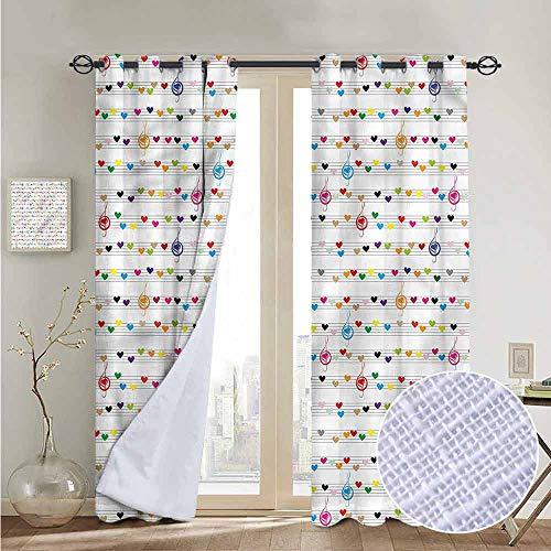 12' Pink 50 Sheets - NUOMANAN Bedroom Curtain Hearts,Musical Notes Sheet Love,Insulating Room Darkening Blackout Drapes 120