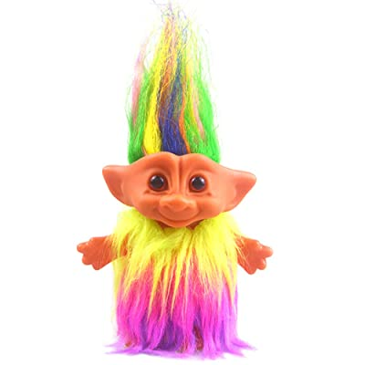 "Yintlilocn Lucky Troll Dolls,Vintage Troll Dolls Chromatic Adorable for Collections, School Project, Arts and Crafts, Party Favors - 7.5"" Tall Dress(Include The Length of Hair): Toys & Games"