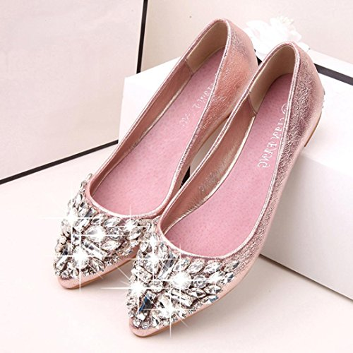 Inkach Chaussures Plates Pour Femmes - Ballerines À Bout Pointu - Ladise Casual Strass Chaussures À Talons Bas Chaussures Rose