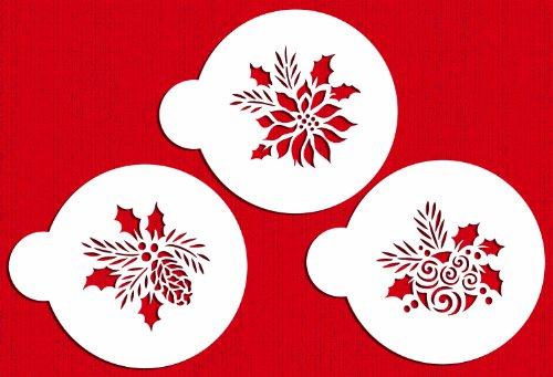 Designer Stencils C724 Forever Green Ornaments Cake Stencils, (Christmas Ball, Pinecone and Poinsettia) Beige/semi-transparent ()