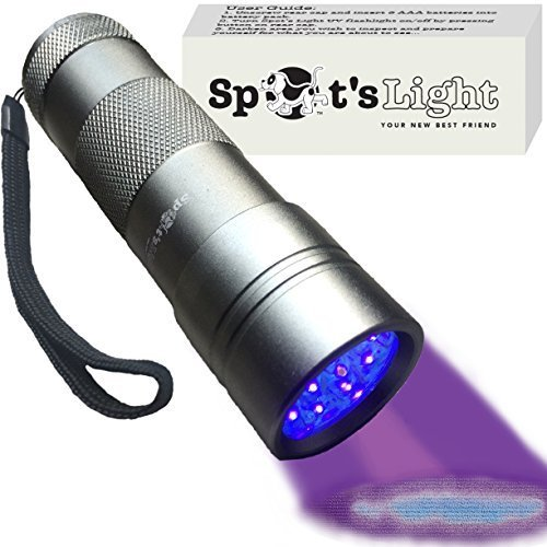 Spot's Light UV Blacklight Flashlight, Silver 12 LED, Ultraviolet Pet Urine Stain Detector Finds Dog and Cat Pee on Carpets, Rugs, any Floor or Wall by Spot's Light