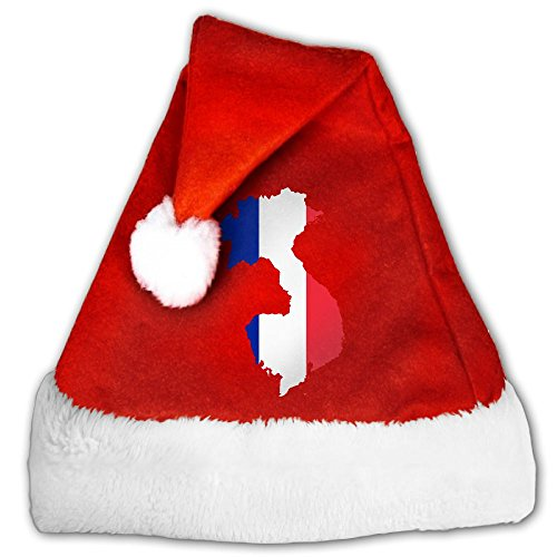 LBLOGITECH Kids And Adults Flag Map Of French Lovely Classic Red Plush Christmas Hat Santa Hat Gift Party Decor