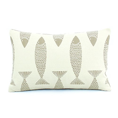 Chloe & Olive Swim Team Baja Sand Collection Reversible Fish / Sea Coral Decorative Outdoor Fashion Pillow (1 Pillow with Insert), 12 x 20 Inch Lumbar, Beige