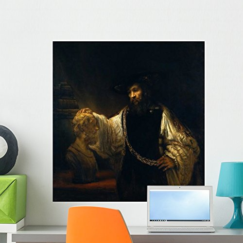 Harmensz Van - Wallmonkeys Aristotle with a Bust of Homer Rembrandt Harmensz Van Rijn Wall Decal Peel and Stick Graphic WM354933 (24 in H x 23 in W)