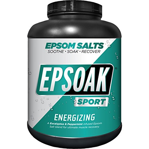 Epsoak SPORT Epsom Salt for Athletes - ENERGIZING. All-natural, therapeutic soak with Eucalyptus and Peppermint Essential Oil (8.5lb Canister) (Energizing Body Soak)