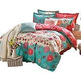 100% Cotton Bedding Set Rural Style 4 Pieces Printed Duvet Quilt Cover Set Duvet Cover Flat Sheet Pillow Covers For Lovely Teen Girls Full Pattern 1