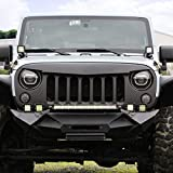 Esright Front Matte Grille Angry Bird Grid Grill for Jeep Wrangler Rubicon Sahara Sport JK 2007-2017 (Black)