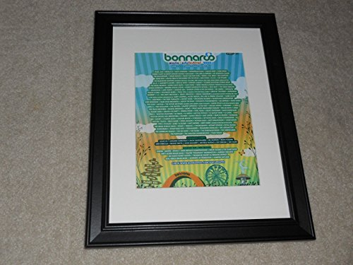 "Framed Bonnaroo 2008 Handbill Mini-Poster, 14"" by 17"", Pearl Jam, Metallica, Kanye West"