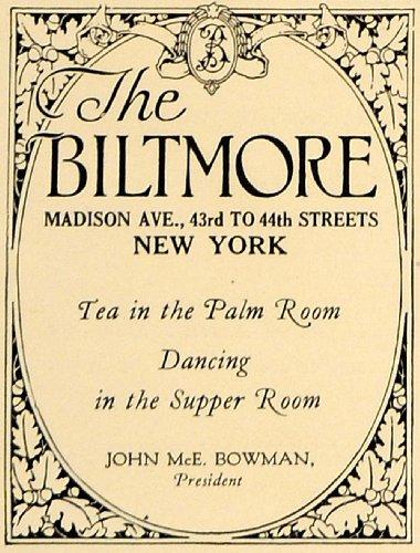 1924 Ad Warren Wetmore Biltmore Hotel John McEntee Palm - Original Print Ad