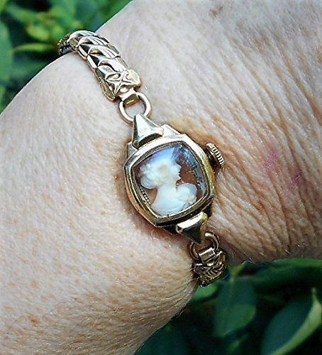 CAMEO Gold Filled Vintage Bulova Watch Band Vintage Small Hand Carved Shell Cameo in Watch w/ No Guts, Only Beauty MARKED Gold Filled OOAK