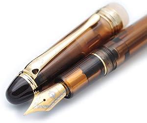 Wing Sung 699 Negative Pressure Vaccum Filling Fountain Pen Original Box (Brown with Translucent Grip, Fine Nib 0.5mm)