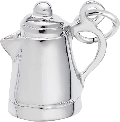 A sterling silver coffee pot charm.