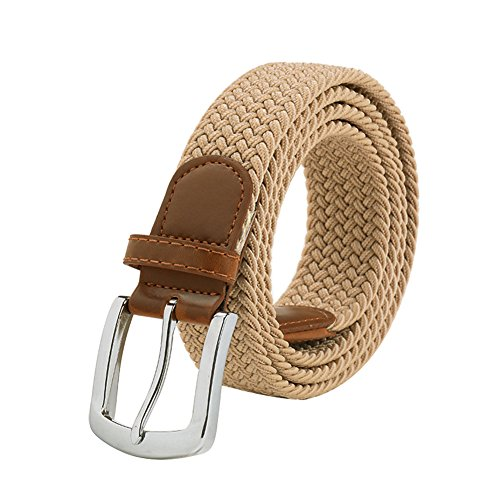 Maikun Braided Elastic Stretch Woven Belt with Leather Tip Nickle Pin Buckle 41 45 49in Father's Day Gifts