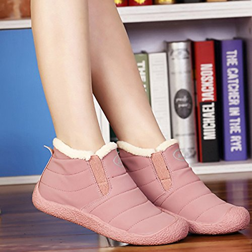 Anti Fur Ankle Winter Waterproof Winter Pink Slip Booties Outdoor Warm Shoes Boots Lined gracosy Women's Snow wPgOxqIP4A