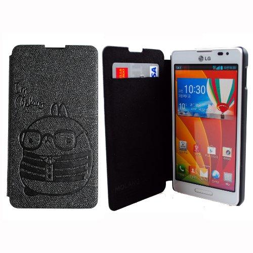MOLANG Premium Leather Flip Case Cover For LG OPTIMUS G LS970 SPRINT (Black)