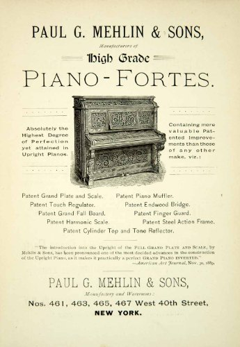 1890 Ad Paul G Mehlin & Sons Pianoforte Musical Instruments 461-67 W 40th St NYC - Original Print Ad