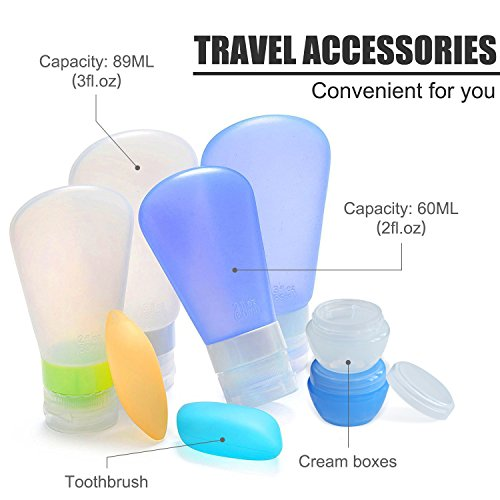 Portable 3-layer Leakproof Silicon Soft Travel Bottle Sets(8PCS) With Cosmetic Containers(10mL) and Toothbrush Cover for Shampoo,Toiletries,Lotion,Conditioner-Carry-on TSA Airline approved