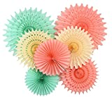 Furuix Paper Honeycomb Tissue Paper Fan Cream Mint Green Peach for Baby Shower Birthday Decor Wedding Decor Party Decor Wall Hanging Decoration Mint Green Decor Tissue Pompom Flower Hanging Paper Fans