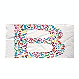 iPrint Cotton Microfiber Beach Towel,Letter B,Colorful Silhouette of B with Do Re Mi Symbols Art School Alphabet Design Words,Multicolor,for Kids, Teens, and Adults