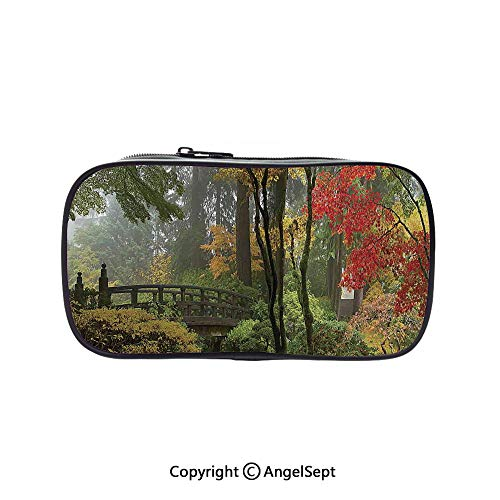 Pen Case Office College School Large Storage,Wet Wooden Bridge at Portland Japanese Garden Oregon in Autumn with Various Trees 5.1inches,Box Organizer New Arrival ()