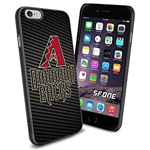 MLB, Arizona Diamondbacks Cool Carbon Fiber BG iPhone 6 plus Smartphone Case Cover Collector iPhone TPU Rubber Case Black
