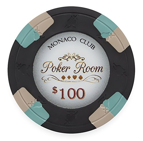 Pack of 50 Monaco Club Poker Chips, Heavyweight 13.5-gram Clay Composite by Claysmith Gaming ($100 Black)