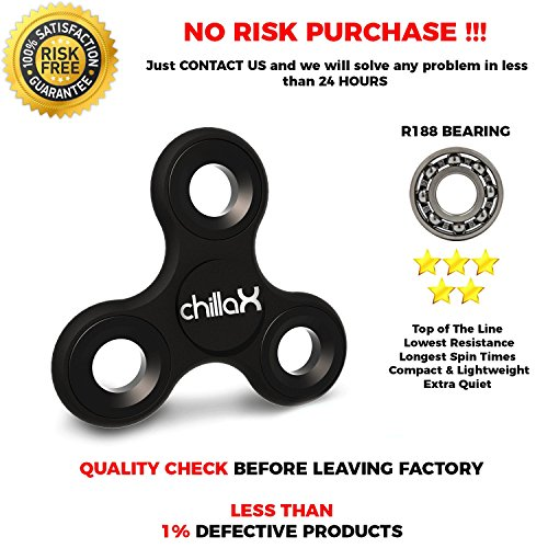 Chillax Fidget Spinner – Tri-Spinner Fidget Toy for Anxiety and ADHD (Black B)