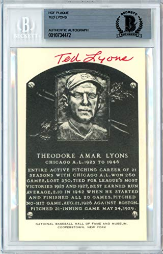 Ted Lyons Signed Artvue HOF Plaque Postcard Chicago White Sox Memorabilia Beckett Authentic