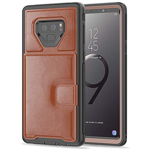 Leather Business Card Stand - Galaxy Note 9 Wallet Case Flip Stand Leather Card Slot Slim Shock Protective Defender Cover - Brown