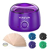 Wax Warmer, KINIVA Electric Hair Removal Waxing Warmer Kit, Professional Wax Heater Pot, Painless Hard Wax Melt Beans Kits, Melting Beads Applicators Sticks – Purple