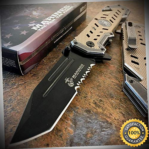 USMC Marines Black Spring Assisted Opening Rescue Folding Pocket Knife - outdoor for camping hunting