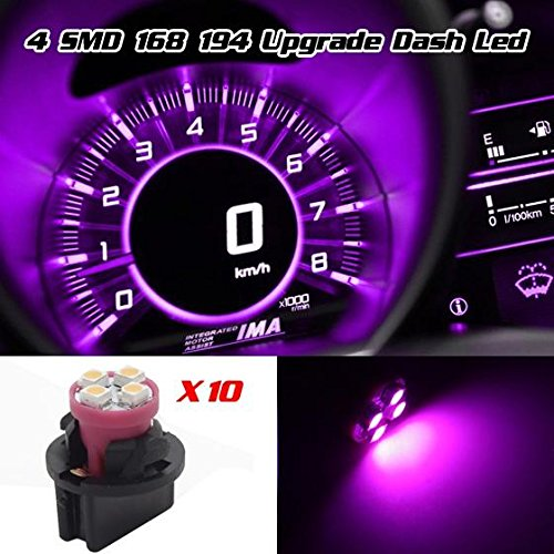 Partsam 10pcs T10 PC194 168 W5W 2825 SMD LED Instrument Cluster Gauge Light Bulb Lamp W/ 13mm hole twist lock sockets (Pink)