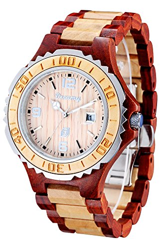 Dreamy cherry with maple color collocation, water resistant wood watch Men's wear by Dreamy Wood