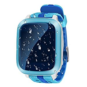 JUNEO Kids GPS Smart Watch Activity Fitness Tracker SOS Call Pedometer Sleep Monitor Parents Control Real Time GPS/LBS Locator Forbidden in the Classroom (GPS + WiFi - Blue)