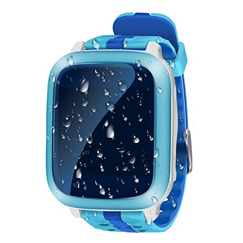 GPS Watch for Kids, Watch Tracker Waterproof with SOS Button, Smart Watch GPS Tracker Real Time Positioning for Children JU-DS18 (Blue)
