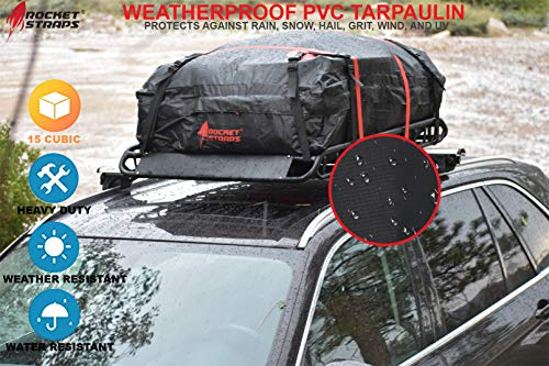 Rocket Straps  Car Top Carrier   Roof Bag Storage   Use Car Carriers Rooftop Luggage Carrier with Roof Racks & Cross Bars   100% Waterproof PVC 15 cuft RoofBag   Inc Carrier Bag & (2) Lashing Straps by Rocket Straps (Image #4)