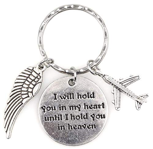I Will Hold You in My Heart Until I Hold You in Heaven Angel Wing Airplane Keychain 115J