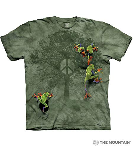 (The Mountain Men's Peace Tree Frog Short Sleeve T-Shirt,Green,Large)