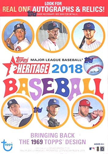 2018 Topps Heritage MLB Baseball EXCLUSIVE Factory Sealed Retail Box with 8 Packs & 72 Cards! Look for Real One Autographs, Inserts, Parallels, Relics & More! Look for SHOHEI OTHANI Rookie's & Auto's! ()