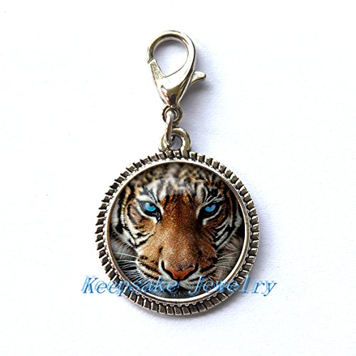 (Tiger Zipper Pull,Perfect for Necklaces, Bracelets , keychain and earrings Charm Tiger handmade Jewelry)