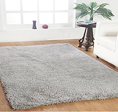 Single Piece Bright Silver Shag Rug, 5' x 8' Rug, Contemporary, Indoor Decor, Cotton Hand-Loomed Construction Rug, For Luxurious Room Decor