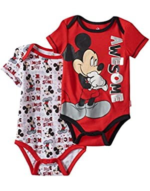 Mickey Mouse AWESOME Baby Boys 2 Piece Bodysuit Set (3 Months)