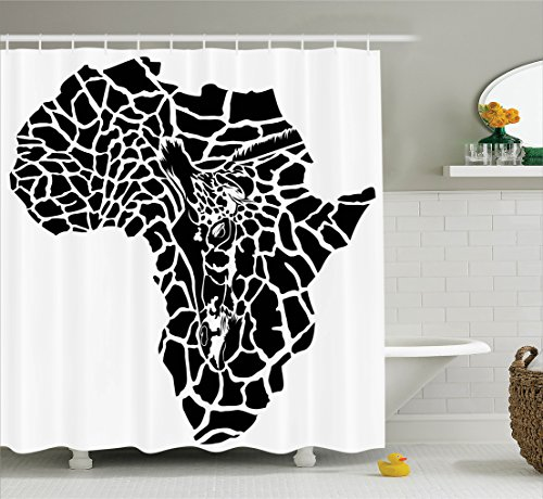 Ambesonne Safari Decor Shower Curtain Set, Illustration of Africa Continent Map As A Animal Skin Wilderness Species Art Print, Bathroom Accessories, 75 inches Longblack White by Ambesonne
