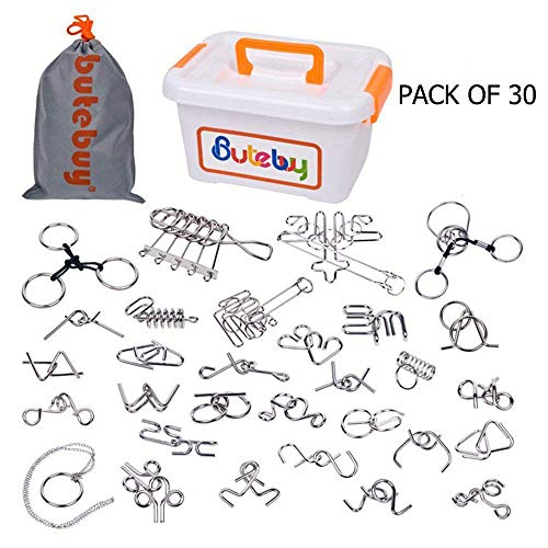 Ahyuan Assorted Metal Brain Teasers Metal Wire IQ Puzzles with Plastic Box Gift Package Great Educational Intelligence Toys for Kids and Adult Pack of 30Pcs ()