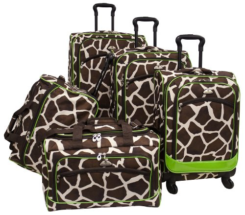(American Flyer Luggage Animal Print 5 Piece Spinner Set, Giraffe Green, One Size)