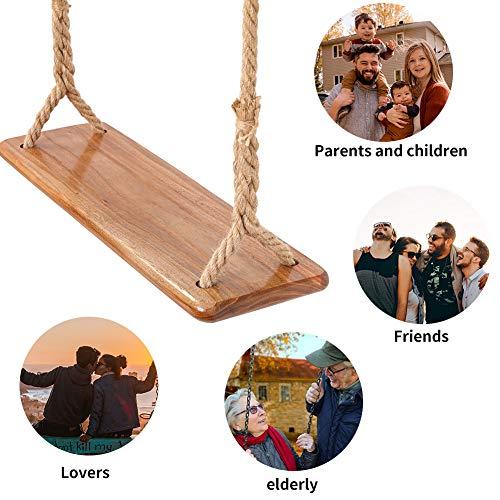 Tree Swing Seat Hanging Wooden Tree Swings for Children Adult Kids Garden,Yard, Indoor, Elm Wood Durable Can Withstand 440IB,Adult Swings and Kide Swings