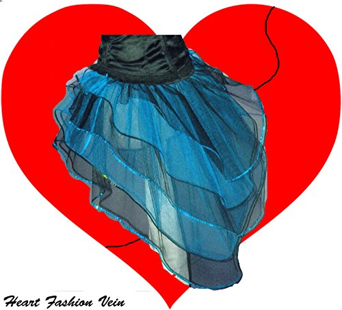 (Blue Black Peacock Bustle Sequins 5 Layer Tutu Skirt Halloween Queen of)