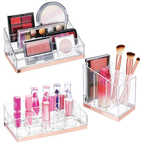 mDesign Plastic Cosmetic Organizer for Bathroom Vanity, Countertop or Cabinet to Hold Makeup, Lipstick, Eyeliner, Beauty Accessories, 3 Piece Set - Clear/Rose Gold