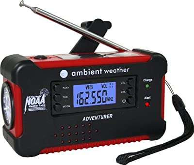 Ambient Weather Emergency Solar Hand Crank AM/FM/NOAA Digital Radio, Flashlight, Cell Phone Charger by Ambient Weather